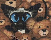 Cat cross stitch kit, AmyLyn Bihrle, Siamese and Teddy Bears, Cat Counted Cross Stitch Kit, Modern X Stitch, DMC Materials, CrossStitch Set