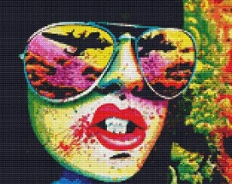 Modern cross stitch kit by Carissa Rose 'Here come the bombs' - Embroidery