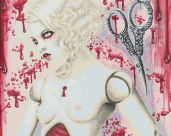 Modern Cross Stitch Kit, Naked Needle Craft, By Shayne of the Dead 'Clothos' - Nude Needlecraft kit