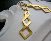 Modern Geometric Triple Diamond Earrings in Brass and 14kt Gold Fill
