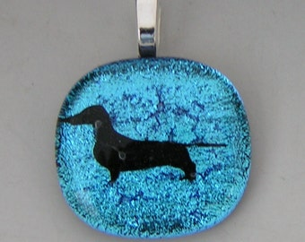 Blue Dachshund Dog Pendant laser etched Dichroic fused glass jewelry w/ cord