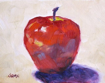 Apple Shade, 5x7 Original OIl Painting Still LIfe, Daily Painting