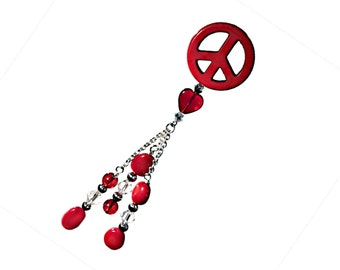 Red Peace Sign Car Charm - A Red Peace Sign Charm with Red and Clear Glass Beads and Silver Beads    C115