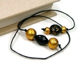 Book Thong Beaded Bookmark Black Gold Book Cord String Bookmark Gift under 5 Book Club Teacher Gift