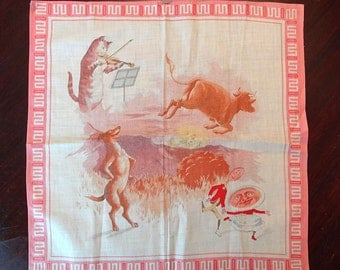 Antique childs handkerchief, childrens hankie, gorgeous lithography, Hey Diddle Diddle nursery rhyme, cat dog cow hankie