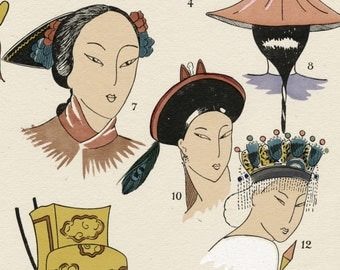 1925 French Art Deco Hand Coloured Pochoir Print on Chinese Women's Hairstyles and Headwear. By Paul Louis de Giafferri