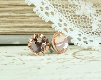 Peach Crystal Studs Peach Stud Earrings Crystal Stud Earring Peach Studs Hypoallergenic Peach Crystal Earrings