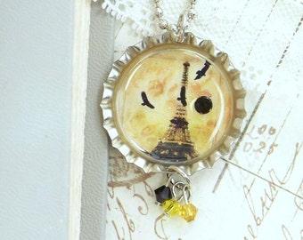 Paris Jewelry Eiffel Tower Necklace Bottle Cap Jewelry Crow Necklace Gothic Jewelry Paris Necklace