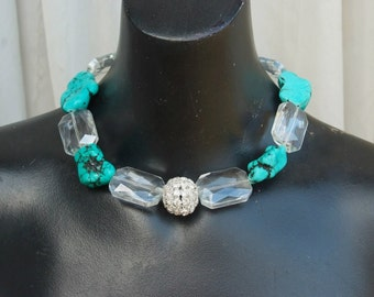 Chunky Western Cowgirl Necklace in Turquoise and crystals