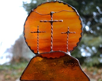 Calvary Stained Glass Suncatcher