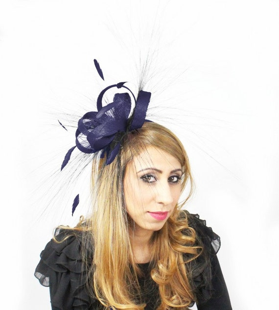 Navy 110 Fascinator Hat for Weddings, Races, and Special Events With Headband(40 colours avail)