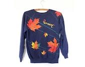 Navy Vermont Maple Leaf & Lasers Graphic Print Sweatshirt Sweater 80s S M