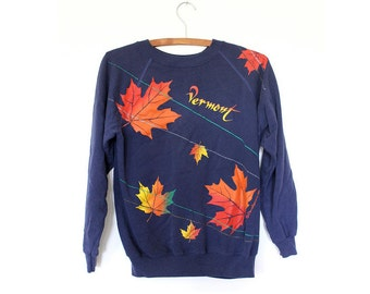 Navy Vermont Maple Leaf & Lasers Graphic Print Sweatshirt Sweater 80s S M