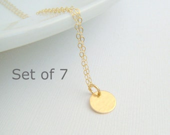 bridesmaid necklaces. SET OF 7: tiny gold circle. 14k gold filled hammered disc. modern wedding. bridal gifts. delicate. dainty. 3/8 inch