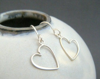 """small sterling silver wire heart earrings petite everyday dangles leverback lever back hook jewelry tiny drop simple gift for her 1/2"""""""