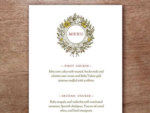 Wedding Menu - Vintage Autumn Wreath Printable Menu Template - Printable Menu Template - Menu Template - Menu Cards - Printable Menu PDF