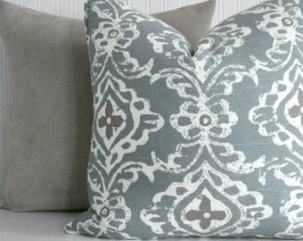 NEW-KRAVET KASHMIR Seaglass- -Both Sides -Decorative.Designer Pillow Cover -- Seaglass/Tan -Creamy Ivory - Throws /Lumbar Pillow