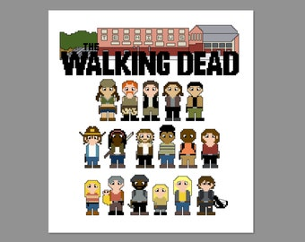 Walking Dead Season 4B Terminus Pixel People Character Cross Stitch PDF PATTERN Only