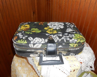 1960s Black Floral Canvas Suitcase Carry-on Bag Tiki