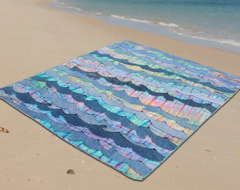 Denim Waves Beach Quilt Pattern (pdf download)