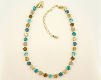 Teal Brown Necklace Aqua Blue Brown 8mm Swarovski Crystal Necklace Multicolored Necklace choker,gold,Tennis Necklace,ARCTIC DESERT,GN1