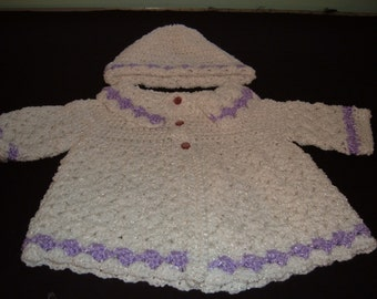 Crocheted White and Purple Baby Sweater and Hat