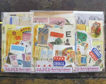 Vintage Ephemera Pack / Paper Pack Book Pages Tickets Labels for Altered Arts Collage Smash Books