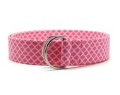 Ladies Hot Pink and White Quatrefoil Fabric Belt in Custom Sizes Small Medium Large Preppy D Rings Women's Belt Modern Preppy 1.5 inch Width