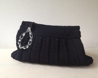 1940s cord bag / 40s cord clutch / Licorice Rope clutch