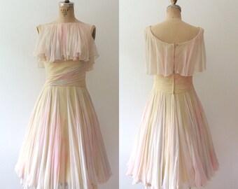 vintage party dress / vintage silk dress / Watercolor Dance dress