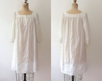 vintage lace dress / white lace dress / Eyelet Studio dress