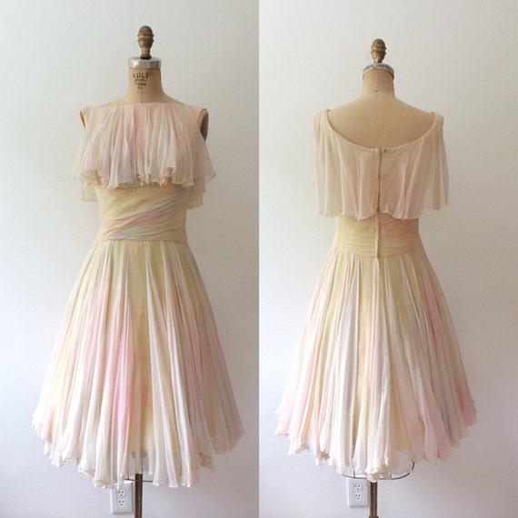 Vintage Party Dress Vintage Silk Dress Watercolor Dance