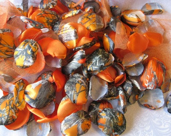 WEDDING PETALS 200 orange CAMOUFLAGE petals including coordinating satin petals and tulle petals