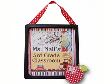 Teacher Gift Door Sign Personalized School Days Wooden & Framed