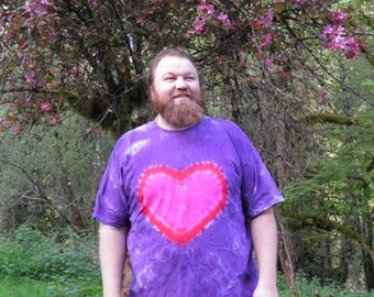 Purple and Pink Heart Tie Dye T-Shirt (Made By Hippies Tie Dye In Stock  in Sizes Small to 4XL) (Fruit of the Loom)