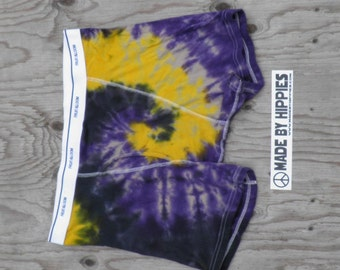 Ultra Violet , Black and Golden Spiral Tie Dye Mens Underwear (Fruit of the Loom Boxer Briefs Size XL) (One of a Kind)