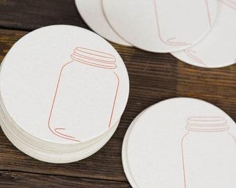 Mason Jar Letterpress Paper Coasters