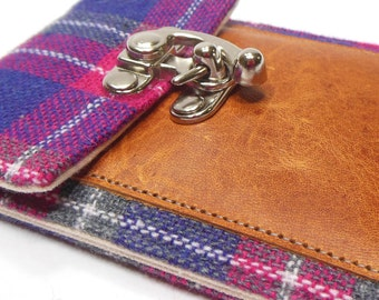 iPhone 6 / 7 / 7 Plus wallet  - gray and pink plaid