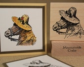 HORSE with straw hat  - wood mounted rubber stamp -(MCRS 21-05)