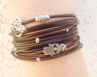 Black Leather Wrap Bracelet - Hamsa Charm Bracelet - Tibetan Beaded Wrap Bracelet - Best Friend Gift - Choose FOUR Charms - Customizable