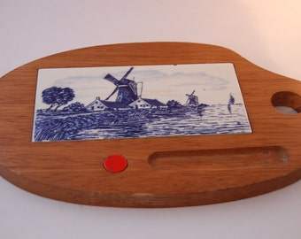 Vintage Delft Dutch wooden cheese tray
