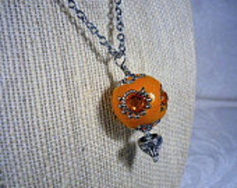 SALE - Orange Hot Air Balloon Necklace