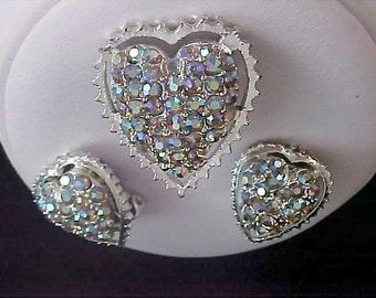 Aurora Borealis HEARTS ~ Brooch & Clip Earring Suite