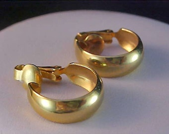 Sought After Exquisite HOOP Polished Gold Plate Clip Earrings