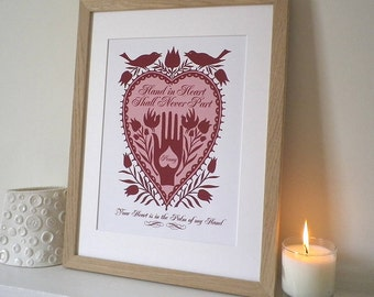 "Romantic ""Hand in Heart"" Folk Art Inspired Personalised Print"