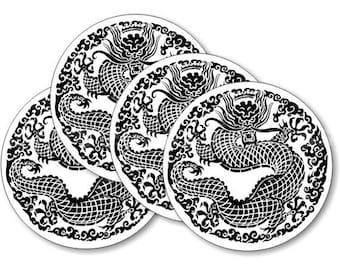Oriental Dragon Coasters - Set of 4