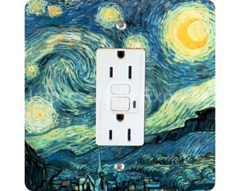 Vincent Van Gogh Starry Night Painting Square GFI Outlet Plate Cover