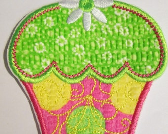 Iron On Applique - Spring Cupcake -