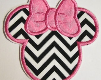 Embroidered Mouse Head in Chevron- Iron On or Sew On Appliques for Children  READY TO SHIP in 3-7 Business Days