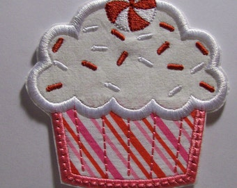 Christmas Sprinkles Cupcake - Iron On Applique